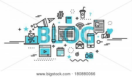 Modern flat thin line design vector illustration concept of blog online news and blogging for graphic and web design