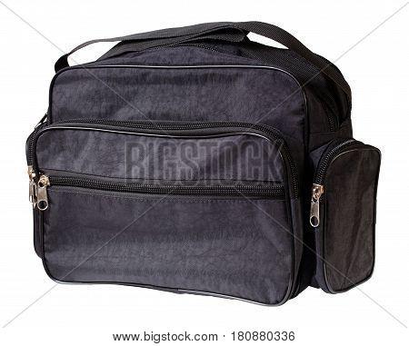 Black nylon single shoulder sports bag. Isolation on a white background