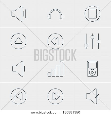 Vector Illustration Of 12 Music Icons. Editable Pack Of Soundless, Pause, Preceding And Other Elements.