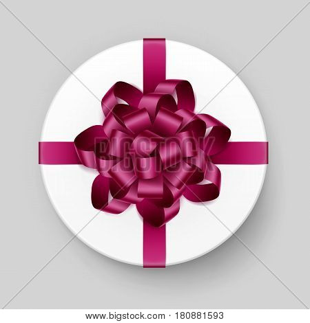 Vector White Round Gift Box with Shiny Magenta Dark Pink Burgundy Bow and Ribbon Top View Close up Isolated on Background