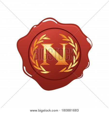 Red wax seal with monogram N isolated on white background.