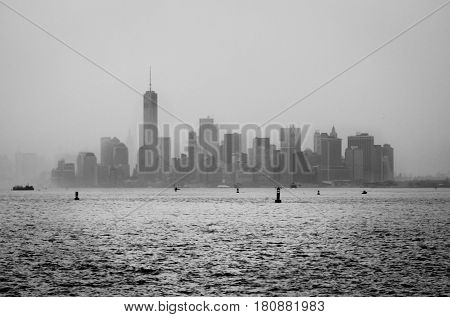 Black and white photo from the skyline of New York City