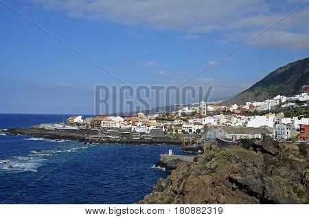 Garachico town on Tenerife Canary Islands built on volcanic debris