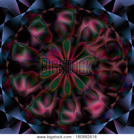 Bright circular floral mandala pattern. Spirituality, space concept. Vector illustration editable for different design needs