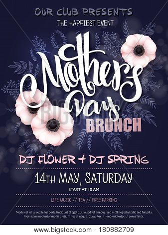 vector hand drawn mothers day event poster with blooming anemone flowers hand lettering text - mother's day and luminosity flares.