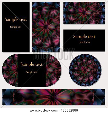 Set of five template cards with bright floral mandala pattern for business, invitations and other design and printed needs. Vector illustration editable with sample text