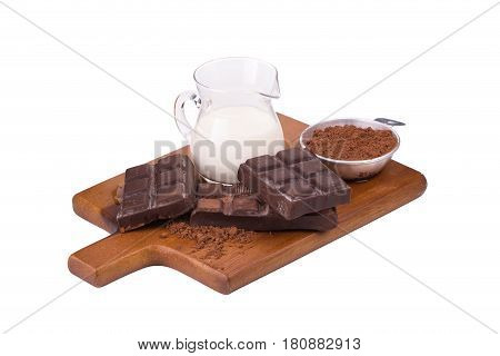 Chocolate and Milk on a white background.