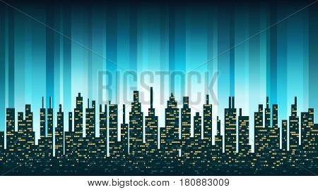 City skyline silhouette with illuminated Windows in the background of the shining sky