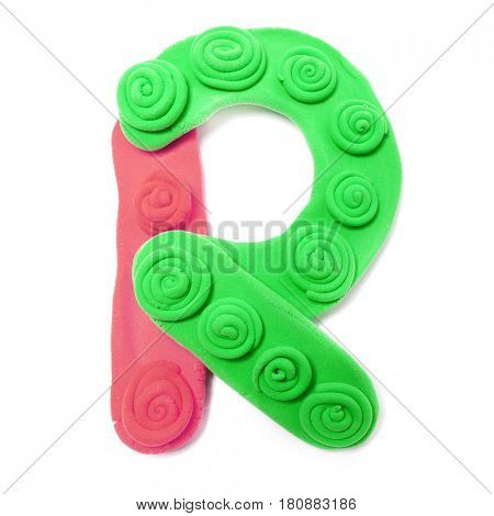 Plasticine letter R. Color plasticine alphabet, isolated.