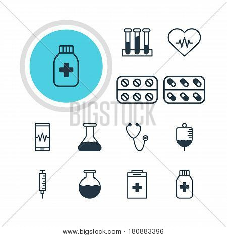 Vector Illustration Of 12 Medicine Icons. Editable Pack Of Antibody, Exigency, Pills And Other Elements.