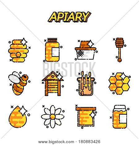 Apiary icons set. Flat illustration of 12 apiary vector icons for web