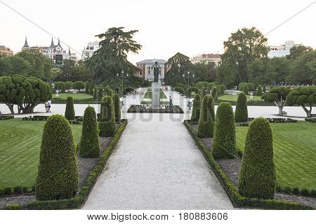 MADRID, SPAIN - JULY 17, 2016: Madrid (Spain): the Park of Buen Retiro at evening