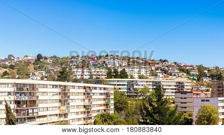 Panoramic view of residential area in Vina del Mar Chile