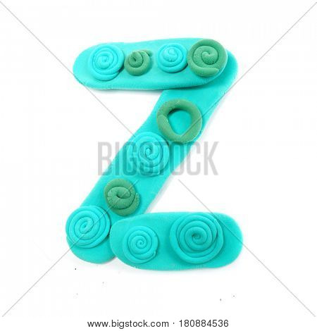 Plasticine letter Z. Color plasticine alphabet, isolated.