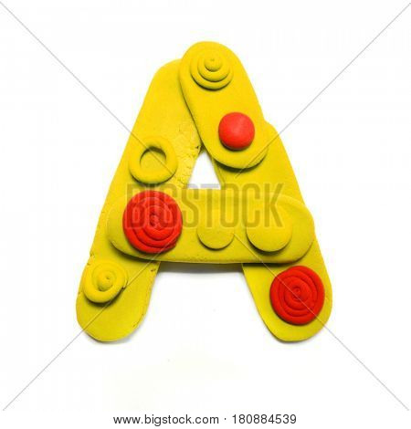 Plasticine letter A. Color plasticine alphabet, isolated.