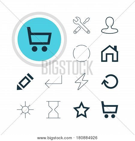 Vector Illustration Of 12 Interface Icons. Editable Pack Of Asterisk, Wheelbarrow, Repeat And Other Elements.