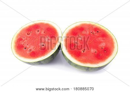 cut Ripe watermelon on a white background.