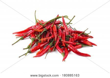 Red hot chili peppers isolated on white background. Spicy chilli peppers.