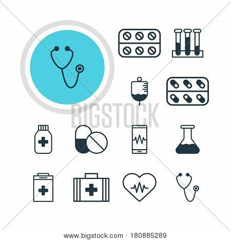 Vector Illustration Of 12 Medical Icons. Editable Pack Of Antibody, Heart Rhythm, Medicine And Other Elements.