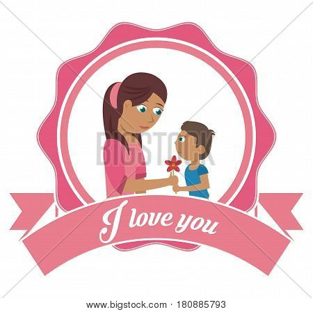 i love you mom card - son gifting flower vector illustration eps 10
