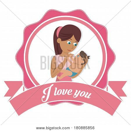 i love you mom card mother and baby together vector illustration eps 10