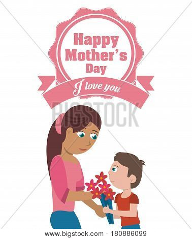 happy mothers day card - i love you mom and son flowers vector illustration eps 10