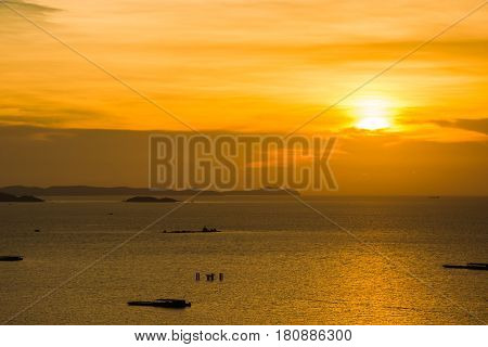 sea sunset sihouette landscape holiday vacation summer asia