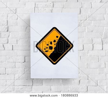 Rockfall Beware Sign Attention Banner Put in Concrete Wall