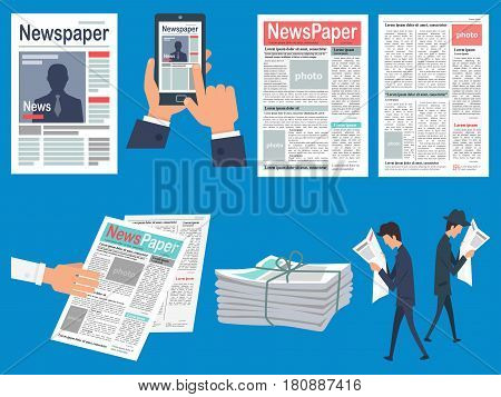 Newspapers headlines concepts set. Newspaper front page on mobile phone screen and human hands vector.  Walking people reading gazette news flat illustration. Bound bundle of newssheets for sale