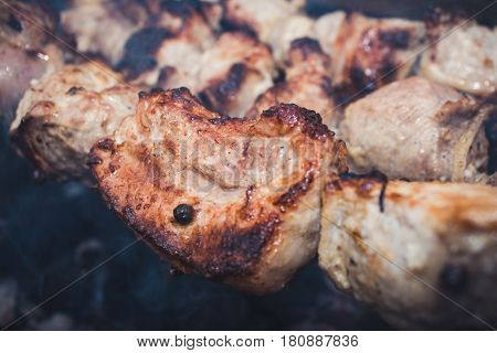 Grilling Barbecue Meat On Wood Coal. Man Cooks Appetizing Hot Shish Kebab On Metal Skewers. Tasty Me