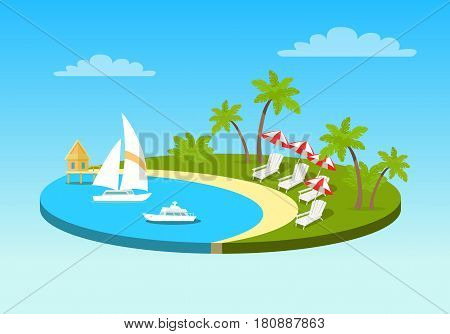 Tropical beach on sunny ocean shore circle concept. Sea coast with yachts on water and lounge chairs with umbrellas on the beach under palm trees flat vector illustration. Leisure on exotic island