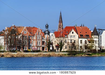 Old town of Schwerin on the lake shore capital city of the northern German state of Mecklenburg-Vorpommern