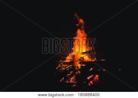 Bonfire Burning Trees At Night. Bonfire Burning Brightly, Heat, Light,camping, Big Bonfire.
