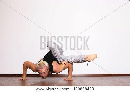 yoga, yoga poses, yogi in hall in a pose