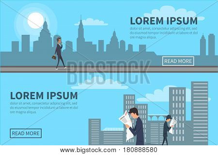 People walking in city with skyscrapers on background. Vector web poster of people going at random in downtown with bag in hand, speaking over phone and reading newspapers. Relaxation after work