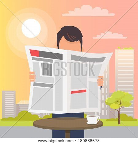 Man holding and reading open newspaper near round table on long stick and white cup of coffee on it. Vector illustration of city sunset view and urban life on background, man spending time outside