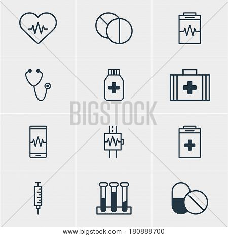 Vector Illustration Of 12 Health Icons. Editable Pack Of Antibiotic, Heart Rhythm, Experiment Flask And Other Elements.