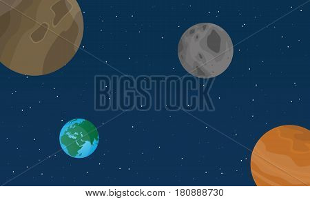 Vector flat space on blue background collection stock