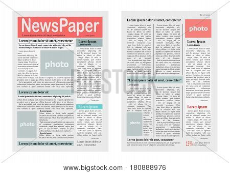 Two pages of newspaper vector illustration on white. Colourful paper journal with articles in columns and free spaces for photos Tabloid on newsprint with fresh news and reportage information