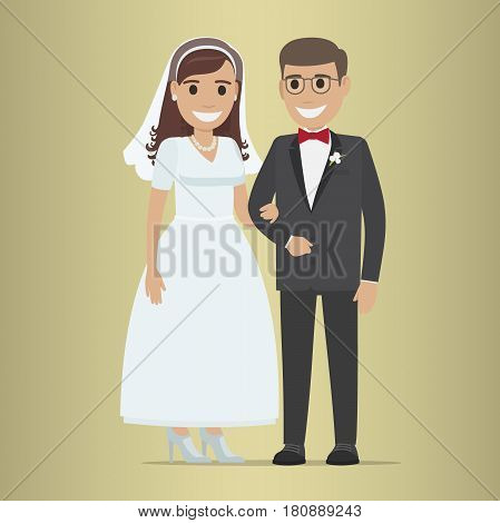 Wedding day web banner of newlyweds couple. Beautiful young newly-married groom and bride isolated. Love people and wedding. Ceremony where two people united in marriage vector illustration