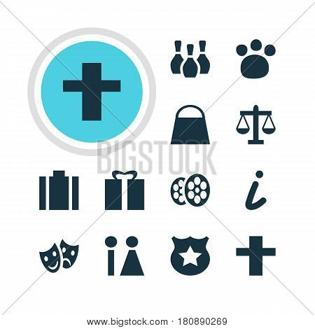 Vector Illustration Of 12 Map Icons. Editable Pack Of Toilet, Handbag, Skittles Elements.