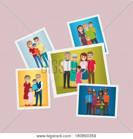 Happy family pinned portraits set. Smiling parents and grandparents with children and celebrating kids birthday with friends flat vector illustrations. Memorable moments of family history concept