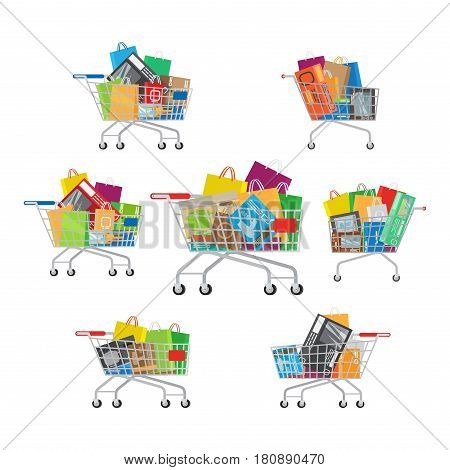 Shopping trolleys set, which includes seven carts with different amount and kinds of purchases. Shopping-themed isolated vector illustrations of carts with different stuff. Biggest dream of shopaholic.