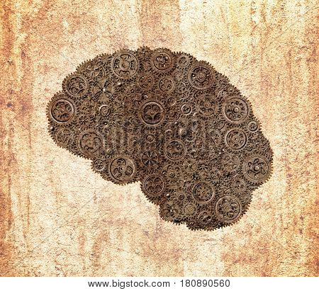 Human brain build out of gears saturated in warm gray tones with rust on grunge textured background (concept)