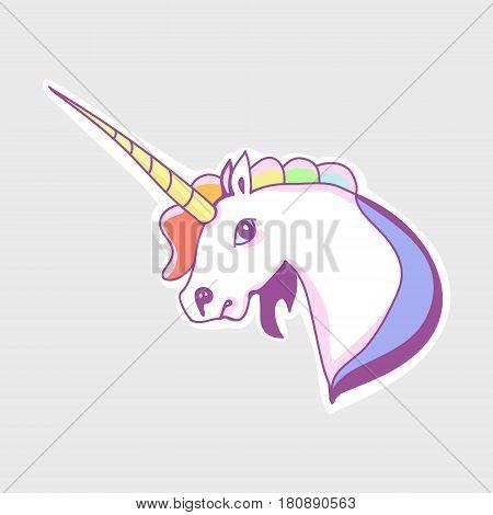 The unicorn's head sticker horse and rainbow mane Vector illustration