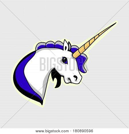 The head of a unicorn blue mane vector illustration