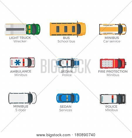 Emergency vehicles top view icons set. Various technical support, police and rescue services minibuses isolated flat vectors. Municipal services special vans illustrations for city infographics