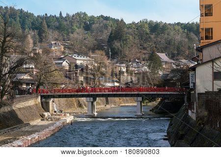Red Nakabashi Bridge at Takayama in winter, Japan