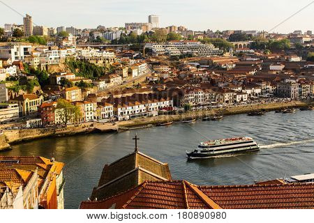 Bird's-eye view of the Douro river, historical centre Porto, Portugal.
