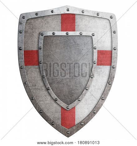 Old templar or crusader metal shield 3d illustration